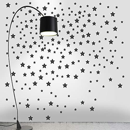 220pcs Pegatinas Estrellas Pared Vinilos Adhesivos Stickers Decorativos Pared Etiquetas Pared Decoración Salón Dormitorio Habitación de Niños Infantiles Negro