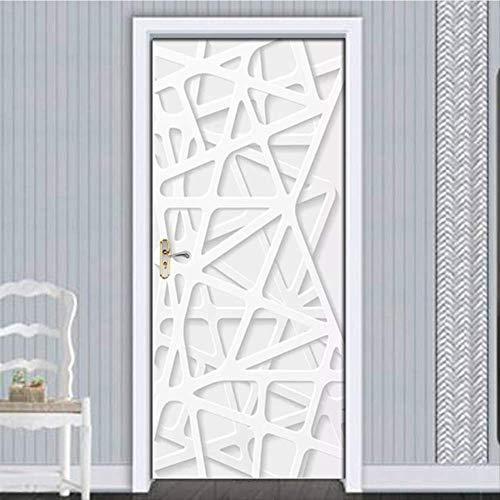 laonieshangmao Adesivi per Porte Rimovibili Europeo 3D White Line Spazio Impermeabile Soggiorno Camera da Letto Porta 3D Carta da Parati autoadesiva Stickers murali 90x215cm