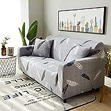 ele ELEOPTION Funda elástica para sofá, 2 unidades de 3 plazas para sofá en forma de L, incluye 2 fundas de almohada (plumas)