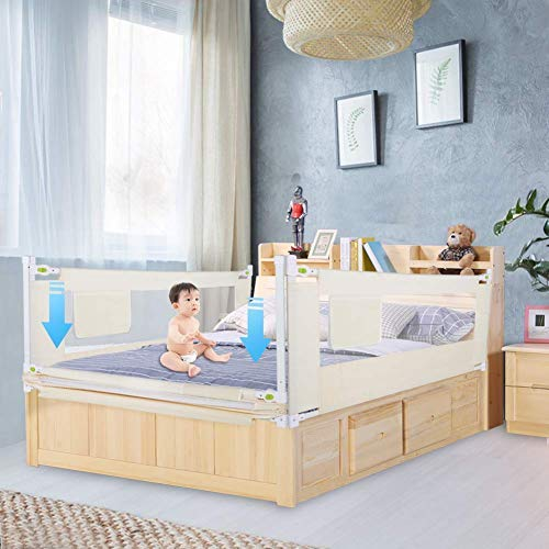 Barrera de Cama 150 cm para Niños, Barandilla de Cama Ajustable, Rejilla de Protección Anticaídas para Cama de Madera