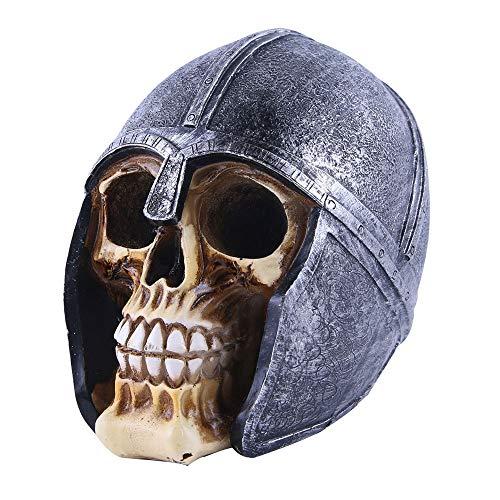 VOANZO Estatua de cabeza de guerrero negro con cabeza humana para Halloween Bar Decoración de mesa