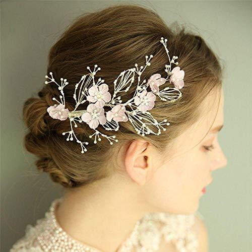 Silber Farbe Perlen Hochzeit Haarschmuck Braut Haarspange Kamm Handgemachte Blumen Frauen Kopfbedeckung Zubehör