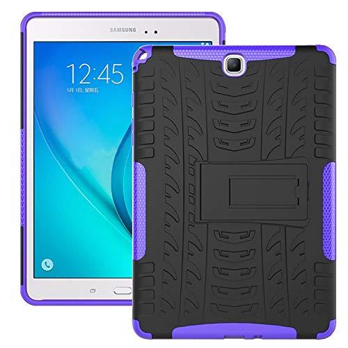 ZHIWEI Tablet PC Bolsas Bandolera Cubierta de Tableta para Samsung Galaxy Tab A 9.7 Pulgadas / T550 T555 Textura de neumáticos TPU + PC Funda Protectora con Soporte de Mango Plegable (Color : Purple)