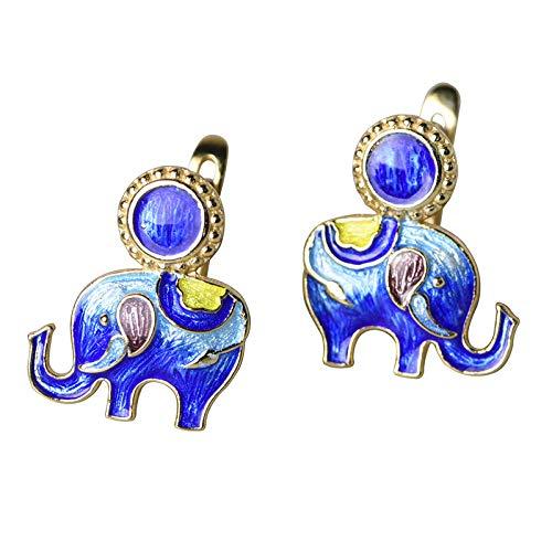 Pendientes De Aro Plata De Ley 925,Vintage Dorado Quemado Elefante Azul Animal Indio Bohemio Hipoalergénico Pendientes con Bisagras Círculo Fino Joyería De Bucle Sin Fin para Mujeres Hombres Ni
