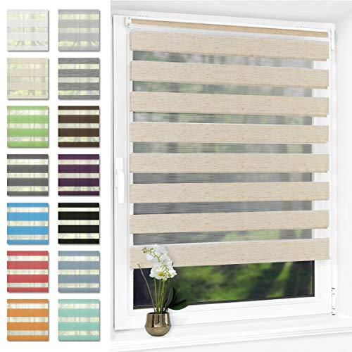 Doppelrollo für Fenster ohne Bohren Duo Rollo klemmfix 90 x 130 cm(BxH) Leinen, lichtdurchlässig und verdunkelnd, Seitenzugrollo für Wohnzimmer Küche Büro