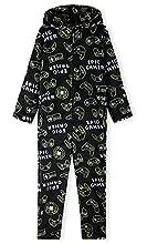 CityComfort Pijama Entero Niño con Capucha, Pijama Mono de Forro Polar, Pijama Niño Diseño Gamer, Regalos para Niños y Adolescentes 7-14 Años (Negro, 11-12 años)