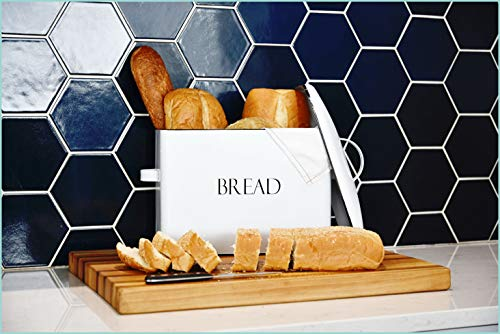 "Outshine Vintage Metal Bread Bin - Countertop Space-Saving, Extra Large, High Capacity Bread Storage Box for your Kitchen - Holds 2+ Loaves 13"" x 10"" x 7""- White with BREAD Lettering"