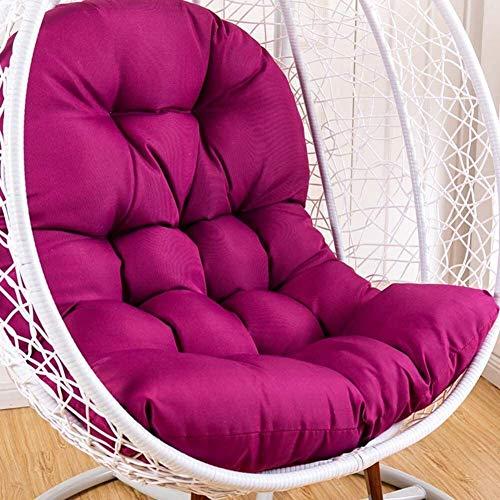 Cojín para silla colgante de polialgodón grueso, huevo colgante de elasticidad suave lavable extraíble, cojín de asiento oscilante de elasticidad respaldo de silla colgante con almohada (Color: Fucsia
