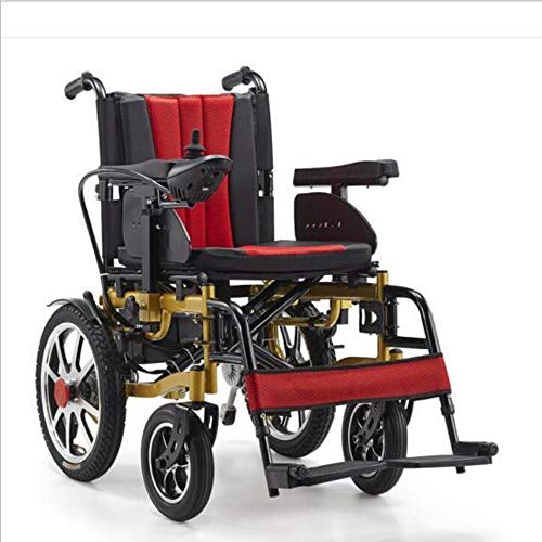 WLY Discapacitados en Silla de Ruedas eléctrica 4 de la Rueda de la batería Scooter de 20A Litio / 500W Motor Plegable portátil Doble Silla de Ruedas de accionamiento Inteligente Auxiliar