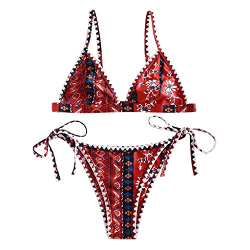 Women's Two Piece Bohemian Flower Print Bikini Sets, Huazi2 Whip Stitch String Swimsuit Swimwear Bathing Suit Ed Hardy Womens Swimwear