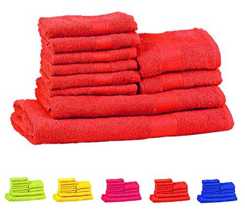 Trident Neon Colorati Serie Combinato di 10 Asciugamani da Bagno Mani-Viso in Cotone, qualità 400 g/m², Colore: Arancione