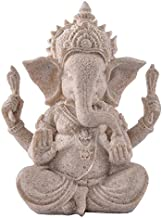 Prettyia Sandstone Ganesha Elephant Gold Statue Sculpture, Hand Carved Collectable Figurine