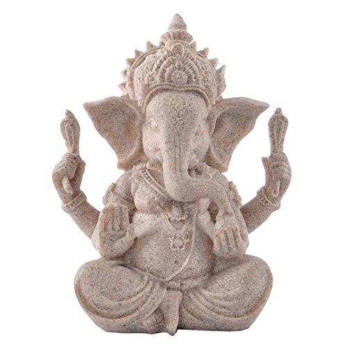 SM SunniMix Handgefertigte Sandstein Elefant Ganesha Buddha Deko Figur Skulptur Glücksbringer