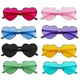 MOPOIN Gafas Corazon, 8 Pares Gafas Fiesta Gafas de Sol Sin Marco En Forma de Corazón Tropicales Gafas de Sol para Niños Adultos Decorativas de Fiesta