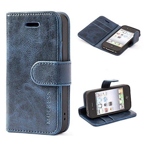 Mulbess Handyhülle für iPhone 4s Hülle Leder, iPhone 4s Handy Hüllen, Vintage Flip Handytasche Schutzhülle für iPhone 4 / 4s Case, Navy Blau