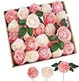 TOPHOUSE 40pcs Artificial Flowers Roses Real Touch Fake Roses for DIY Wedding Bouquets Bridal Shower...