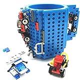 VANUODA Build-on Brick Mug, Tazza di caffè, Regali Originale per Uomo Lui Donna Mamma Bambini Amici Ragazzo, Idea Regalo per Natale Pasqua Festa del papà Compleanno, Compatibile con Lego (Blu)