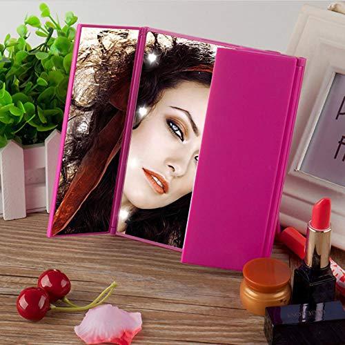 LED Touchscreen Kosmetikspiegel Lady's Home Desktop Dreiseitiger KlappspiegelMit NachtlichtHigh Definition Kosmetikspiegel neu, pink planarer Spiegel
