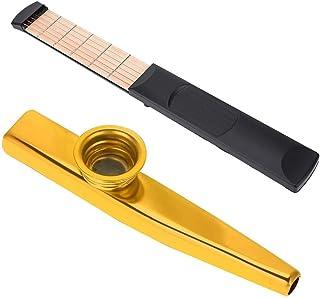 左手用ポケットギター+メタルカズーセット ポータブルギター ポケットストリングス 6フレット Kazoo 金属製 初心者向け 持ち運び便利 練習用ガジェットツール ギター補助 ギフト