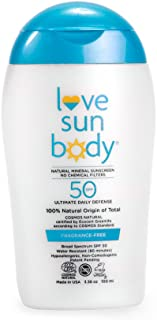 Love Sun Body 100% Natural Mineral Sunscreen SPF 50 Fragrance-Free 100 ml Reef-Safe with Non-Nano Zinc Oxide and Titanium ...