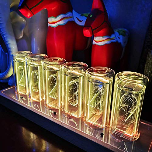 PAKASEPT Reloj Digital LED,Tube Clock, Despertador Digital, Reloj Vintage, 6 dígitos Nixie Tube Clock, USB Tipo C Alimentado, Regalos para niños maridos (Color Ajustable)