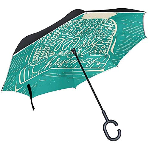 Little Yi Reverse Umbrella, Weihnachtsmütze Illustration Inverted Night Reflective Edge Golfschirme, Double Layered Canopy