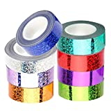 Set di 8 rotoli di nastro adesivo Washi con glitter, decorazioni in lamina Washi Tape Shinning Laser autoadesivo per Natale Scrapbook fai da te confezioni regalo, 15 mm x 5 m