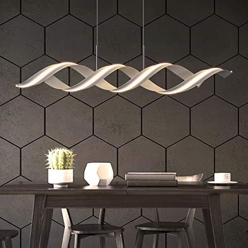 ZMH LED Pendelleuchte Esstisch Modern Hängelampe 29W 3000K Warmweiß Licht Esstischlampe Höhenverstellbar 150CM Weiß Spirale Design Bürolampe Küchenlampe Wohnzimmerlampe