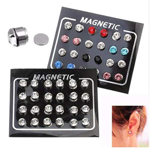 12 Pairs 4/5/6mm Round Zircon Weight Loss Crystal Ear Stud, Unisex Healthy Magnetic Therapy Earrings,No Piercing (Multicolor, 4mm)
