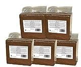 Ladrillo de fibra de coco prensado 5 x 70 (350) litros, aprox. 5 kg (0,13 EUR / litro), tierra para macetas sin turba, 100% puro, ladrillo humus