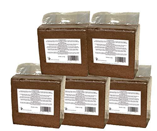 Kokosfaserziegel 5x 70 Liter, gesamt: 350 Liter, ca. 5kg je Ziegel (EUR 0,14 je Liter/EUR 9,50 je Ziegel)), Humusziegel, Kokosziegel, torffreie Anzuchterde, Kokosquellerde aus gepresster Kokosfaser
