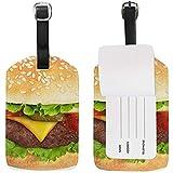 Decilious Hamburger Etiqueta de Equipaje Etiqueta de identificación de Viaje Cuero para Maleta de Equipaje 2 Piezas