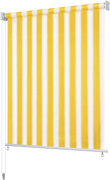 Festnight Persiana Enrollable de Exterior Toldo Vertical para Balcón, Patio, Porche o Pérgola A Rayas Amarilla y Blanca