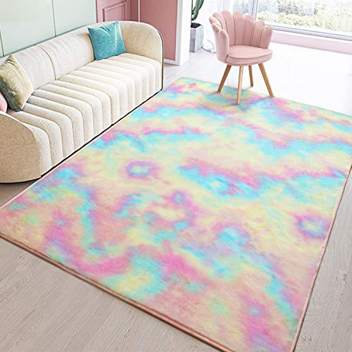 Toneed Soft Rainbow Rug for Girls Room - 4 x 6 Feet Fuzzy Cute Colorful Area Rugs for Kid Bedroom Nursery Home Decor Floor Carpet