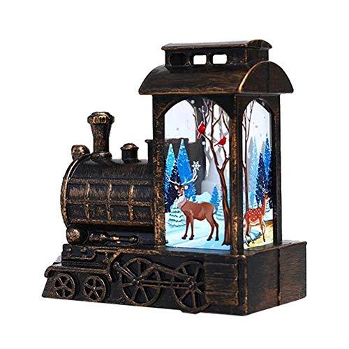 Linterna de Navidad, 5.1 x 2.3 x 5.7 pulgadas, mini linterna de locomotora de Navidad, linterna pintada, decoraciones de Navidad para Halloween, Navidad, ornamento iluminado a pilas