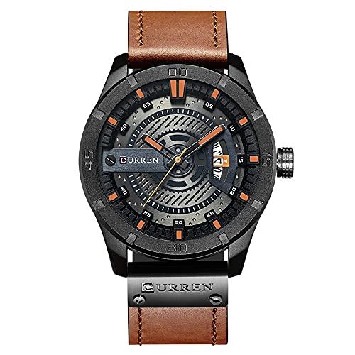 Legxaomi Relojes de lujo, los hombres militares reloj de los hombres de cuarzo fecha reloj de los hombres casual reloj de cuero Relogio Masculino blackorange