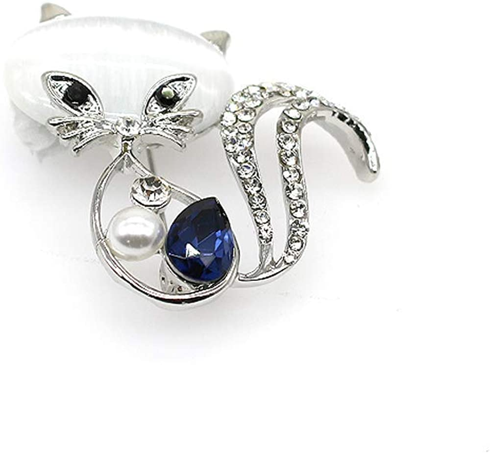 Qiaoqiao Cute Cat Brooches Pretty Animal Brooc Pin Full Shining Elegant Crystal Pink Cat's Eye Stone Brooch Fashion Jewelry for Women Girl Gift