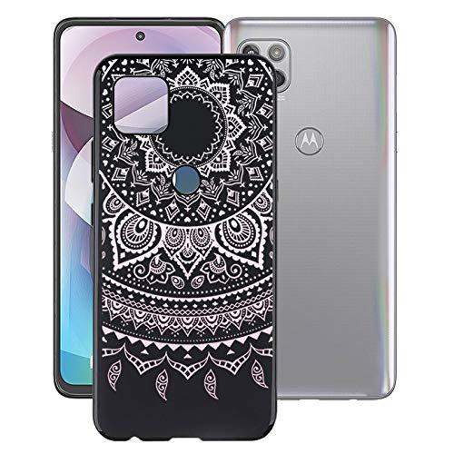 KJYF Funda para Motorola One 5G UW Ace (6.7'), Fundas Negro Premium Anti Deslizamiento Cover Caso Suave Silicona TPU Carcasa para Motorola One 5G UW Ace - Mandala en Polvo