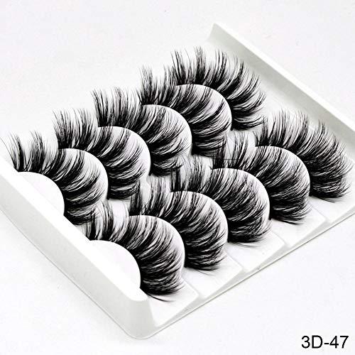 5Pairs 3D Mink Hair Faux Cils Naturel/Épais Oeil Long Cils Wispy Maquillage Beauté Extension Outils (Color : 21)