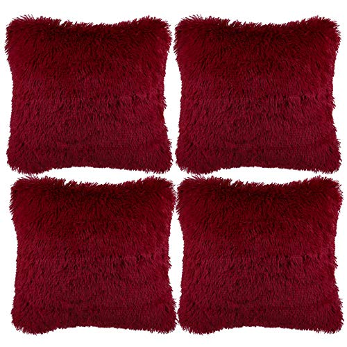 Aneco Pack of 4 18 x 18 Inches Faux Fur Throw Pillow Covers Decorative Square Pillow Covers Faux Fur Cushion Covers for Home Decoration, Wine Red