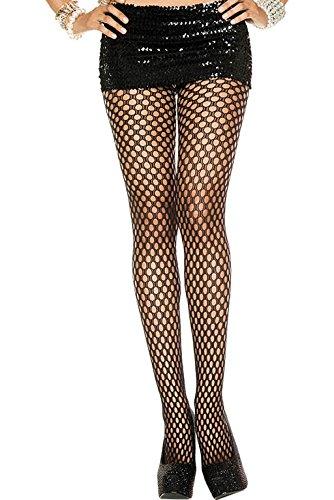Music Legs MH9007BLKOS fantasie panty, zwart fijn doorbroken, eenheidsmaat, zwart.