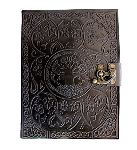 CARVEx Black Leather Journal Tree of Life Handmade Writing Notebook 10x7 Inches Unlined Paper, Antique Leatherbound Daily Diary Notepad Sketchpad for Men and Women
