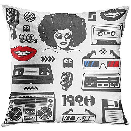 Kussensloop Cool Vintage 90S Stijl met Boombox Console Vrouw Microfoon Diskette Cassete Bril Game Symbolen Retro Decoratieve Kussensloop Home Decor Vierkant 18x18 Inches Kussensloop