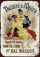 フランスの劇場ドペラ錫サインヴィンテージノベルティ面白い鉄の絵の金属板