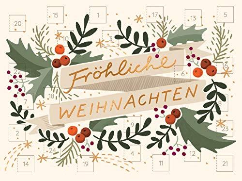 Adventskalender zum Verschicken (DIN A6) mit 24 Türchen und Kuvert WWS