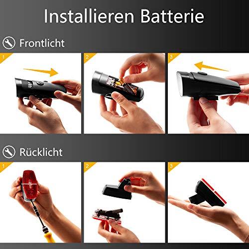 LIFEBEE LED Fahrradlicht, Batterie Fahrradbeleuchtung Fahrradlampe Fahrradlicht Vorne Rücklicht Set, Wasserdicht Batterieleuchtenset für Fahrrad, 2 Lichtmodi, Batterie Nicht inklusive - 6