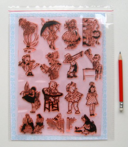 Vintage Kids Baby Children (7'x10') Large Sheet Clear Stamps