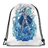 WH-CLA Drawstring Bags Eugeo-Sword Art Online -Sao Anime Print Hombres Bolsas con Cordón Mochila con Cordón Mochila Única Fitness Al Aire Libre Mujeres Cinch Bolsas Deporte Gimnasio Yoga