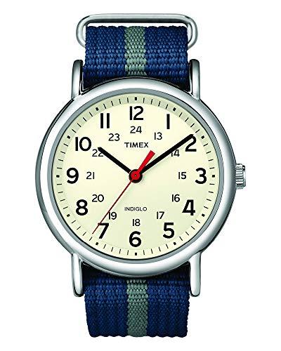 Timex Unisex T2N654 Weekender 38mm Blue/Gray Stripe Nylon Slip-Thru Strap Watch