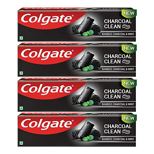 Colgate Charocoal Clean Black Gel Toothpaste, Bamboo Charcoal & Mint for Clean Mouth & Fresh Breath, 480g, 120g X 4